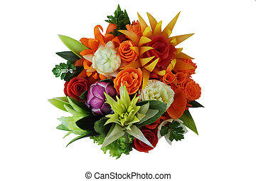 Flowers from vegetables - Nosegay is executed from different...
