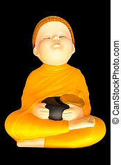 Doll clay baby monk meditation with alms bowl isolated on...