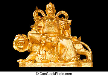 Golden Chinese Prosperity Money God sit on a tiger isolate...