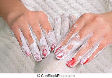 Feet massage with cream
