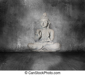 buddha with grunge background