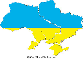 Ukraine in the form of flag - vector map of Ukraine in the...