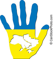 ukraine in hand - Vector map of ukraine in hand Illustration...