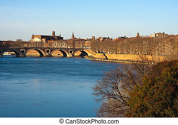 Toulouse - View on the Garonne in Toulouse, France
