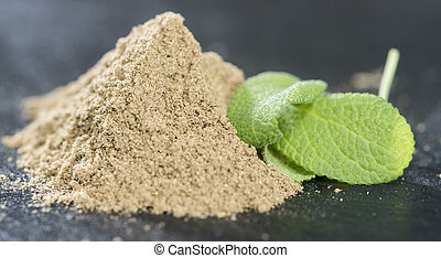 Sage Powder - Small portion of Sage Powder close-up shot