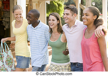 Group Of Teenagers Out Shopping