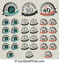 Vintage anniversary sign collection - Vintage style...