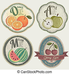 Vintage Label Collection with Fruit illustrations. Fruit...