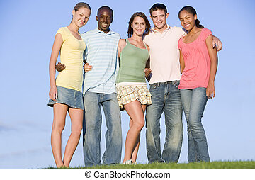 Portrait Of A Group Of Teenagers Outdoors