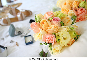 Bridal bouquet  with wedding shoe and jewelry