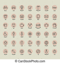 Retro Vintage style Icon collection. Universal icons...