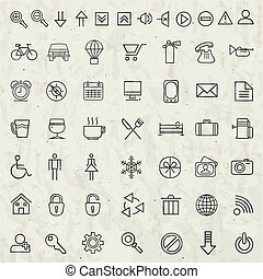 Retro Vintage style Icon collection Universal icons...