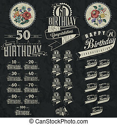 Birthday greeting card collection - Retro Vintage style...