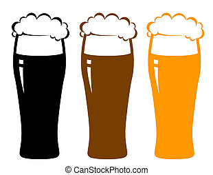 colorful beer glasses with foam and reflection on white...