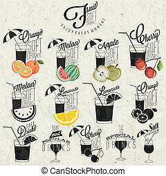 Retro vintage style Soft Drinks design. Set of Calligraphic...
