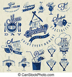 Retro vintage style restaurant menu designs Set of...