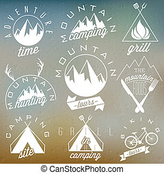 Retro vintage symbols for Mountain - Retro vintage style...