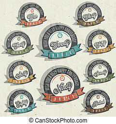 Anniversary sign collection and cards design in retro style...