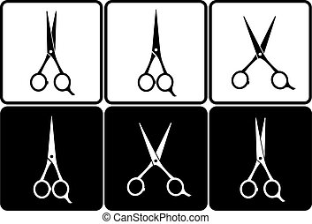 scissors set on black and white background