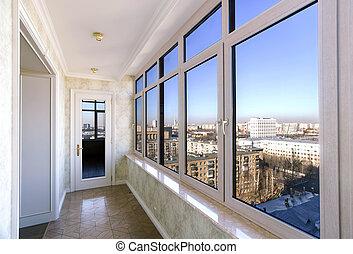 vista, cidade, através, Novo, janelas