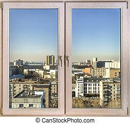 janelas, cidade, vista, através, Novo