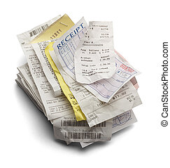 Receipt Stack - Pile of Varioous Receipts Isolated on White...