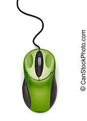 Green Mouse Top - Green Computer Mouse with Cord Isolated on...