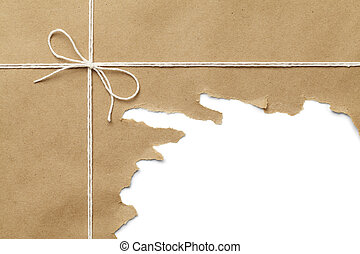 Ripped Package - Brown Paper Package with Rope Torn Open on...