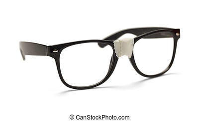 Nerd Eyes - Black Plastic Eye Glasses with White Tape,...