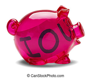 Piggy Bank IOU - Pink piggy bank with Iou note inside...
