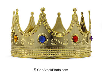Kings Crown - Gold Crown With Jewels Isoalted on White...