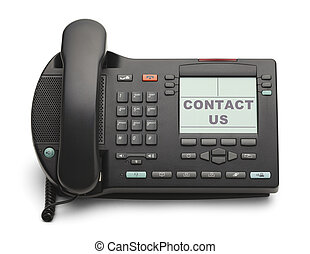 Business Phone - Black Office Phone With Contact Us Isolated...