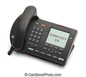 Office Phone - Black Business Phone Contact Us Isolated on...