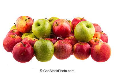 vermelho, maçãs, isolado, isolado, branca,...