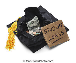 Student Loan Debt - Graduation Cap with Moeny and Student...