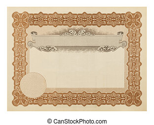 Stock Certificate - Blank Fancy Diploma Isolated on White...