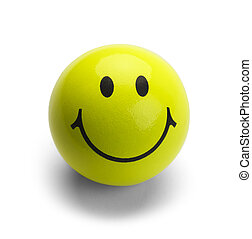Yellow Smiley Face Ball - Round Ball with Smile Isolated on...
