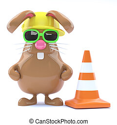 3d Easter bunny road works - 3d render of a rabbit with a...