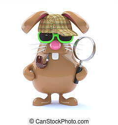 3d Sherlock bunny - 3d render of a rabbit dressed as...