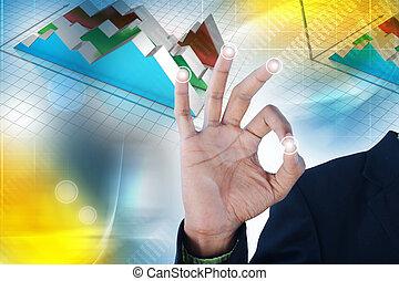 Man showing financial graph