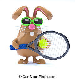 3d Easter bunny tennis star - 3d render of a rabbit playing...