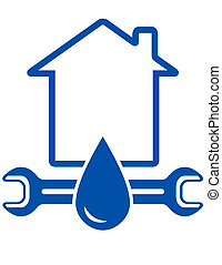 wrench, drop and house - blue sign with wrench, drop, house...
