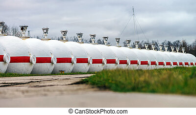 Big oil tanks in a refinery