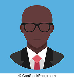Vector Black Man in Business Suit Icon