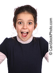 Surprised young girl - Young girl looking surprised on a...