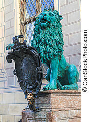 Bavarian Lion Statue in front of Munich Residenz, Bavaria,...