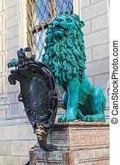 Bavarian Lion Statue in front of Munich Residenz, Bavaria,...