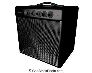 Amp - Black amp for guitar, isolated over white, 3d render