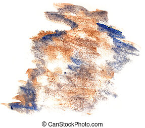 splash paint brown, blue blot watercolour color water ink...