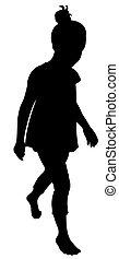 walking girl silhouette vector
